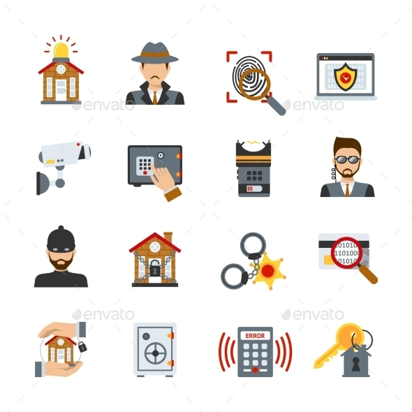 GraphicRiver Surveillance And Security Icons Set 11380516