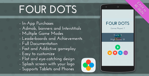 CodeCanyon Four Dots Admob & IAP & Leaderboards 11380767