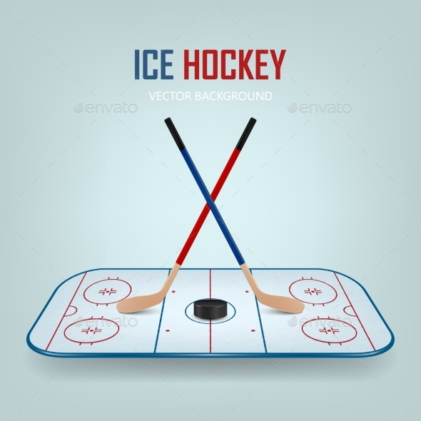 GraphicRiver Ice Hockey Puck And Crossed Sticks On Field 11380786