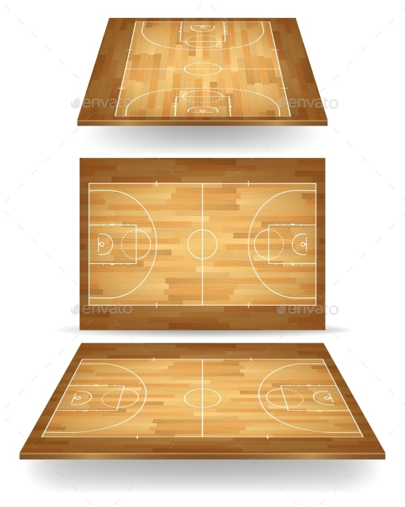 GraphicRiver Wooden Basketball Court With Perspective 11380919