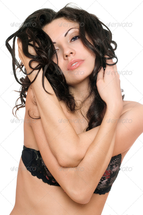 Portrait of sensual sexy brunette. Isolated on white - Stock Photo - Images