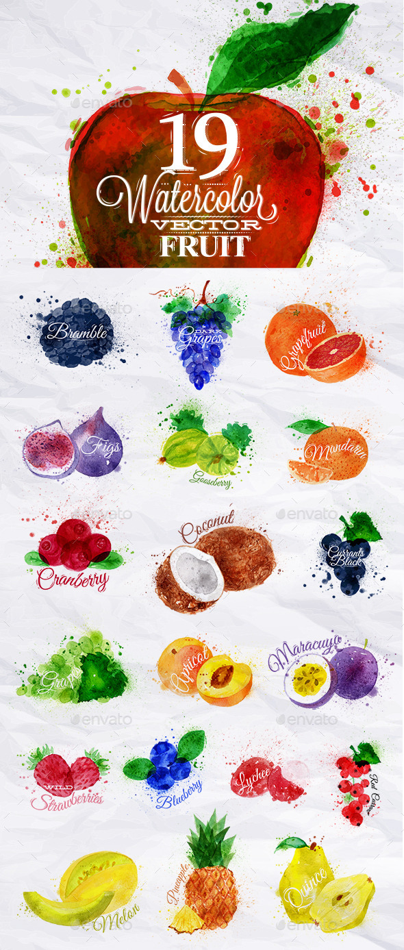 GraphicRiver Set Watercolor Fruits 11380980