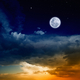 Glowing sunset and full moon - PhotoDune Item for Sale