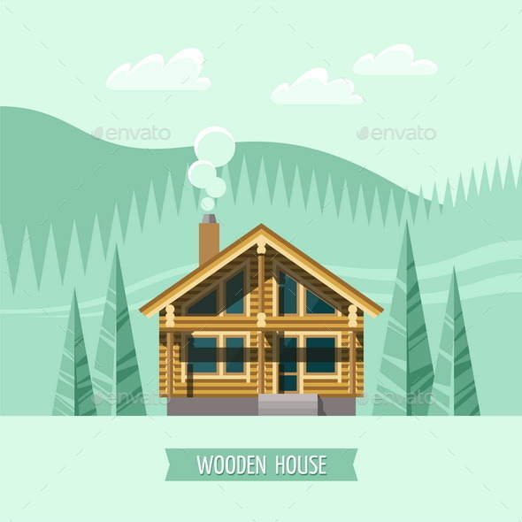 GraphicRiver Chalet Wooden House Eco House 11381829