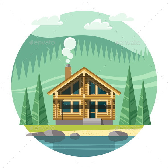 GraphicRiver Chalet Wooden House Eco House 11381838