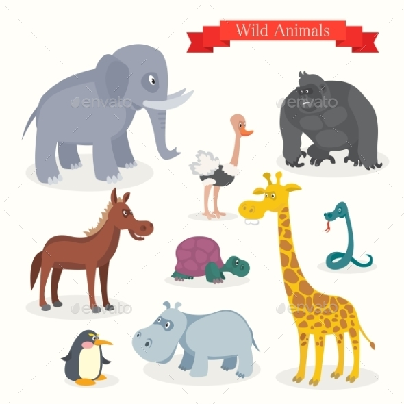 GraphicRiver Animal Cartoons Safari Wild Nature 11381913