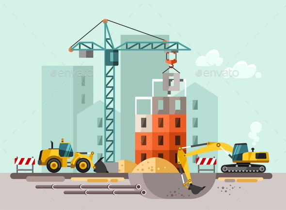 GraphicRiver Construction Site Building a House 11382014