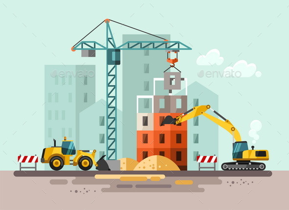 GraphicRiver Construction Site Building a House 11382030