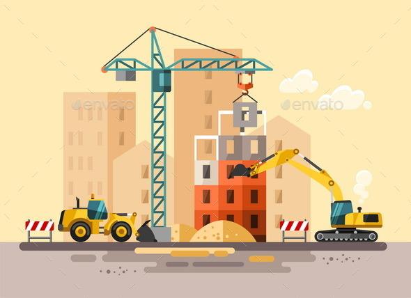 GraphicRiver Construction Site Building a House 11382058