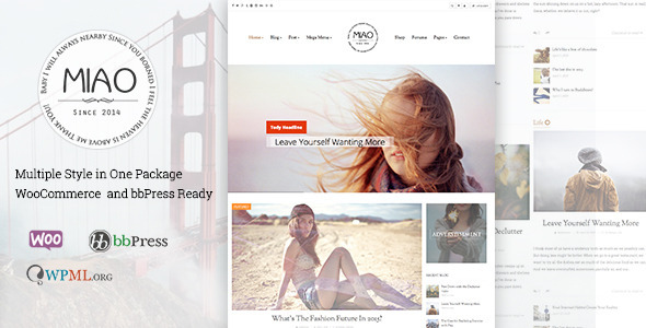 Miao - Fashion Blog & Magazine WordPress Theme