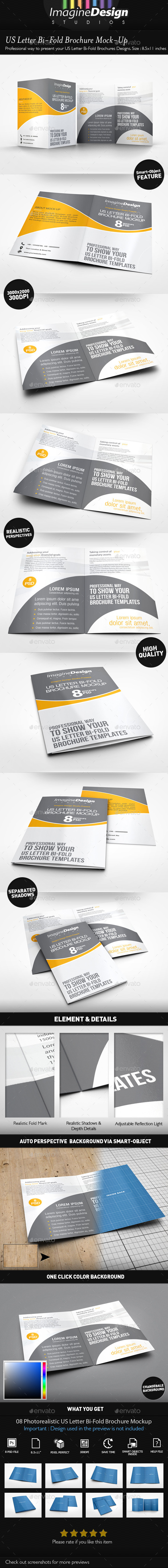 GraphicRiver US Letter Bi-Fold Brochure Mock-Up 11382314