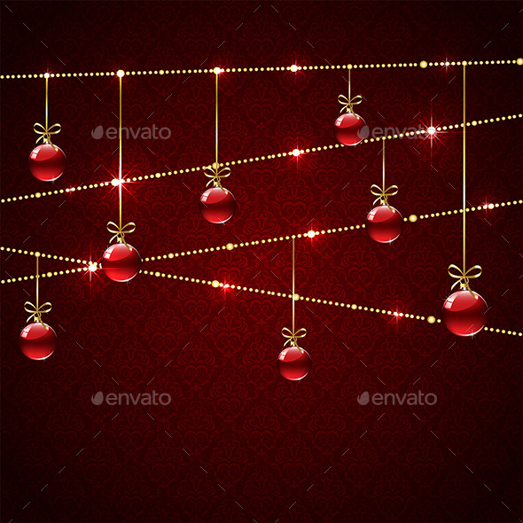 GraphicRiver Christmas Balls on Red Background 11382357