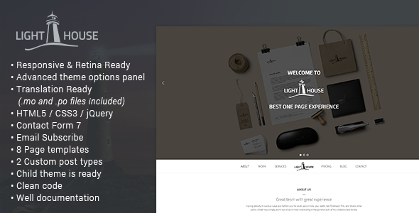 Lighthouse - One Page Responsive Wordpress Theme