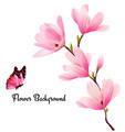 Nature background with blossom branch of pink flowers and butterfly.  - PhotoDune Item for Sale