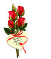 Red roses with a heart-shaped Happy Mother's Day note and red ribbon.  - PhotoDune Item for Sale