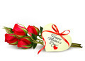 Three red roses with a heart-shaped Happy Mother's Day note and red ribbon - PhotoDune Item for Sale