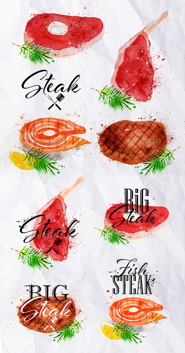 GraphicRiver Watercolor Steak Symbols 11383001