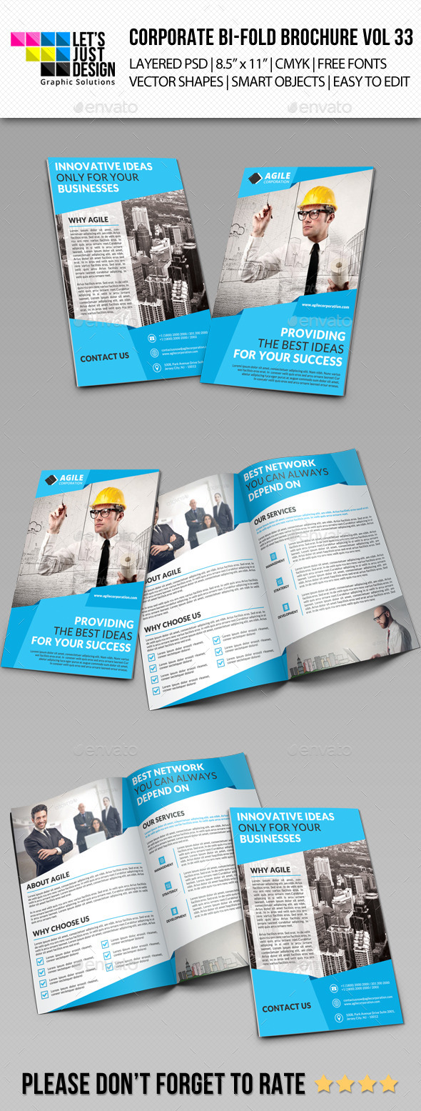 GraphicRiver Creative Corporate Bi-Fold Brochure Vol 33 11383420