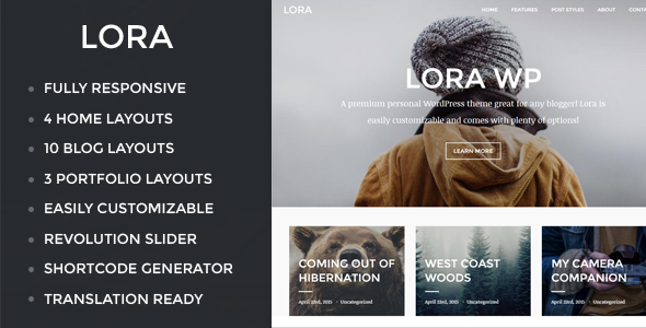 ThemeForest Lora Responsive WordPress Blog & Portfolio Theme 11139083