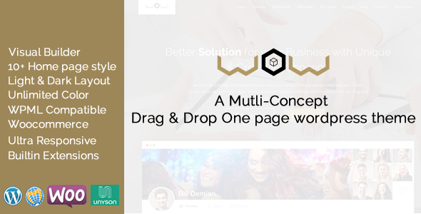 ThemeForest Wow Multi Concept One Page WordPress Theme 11268415