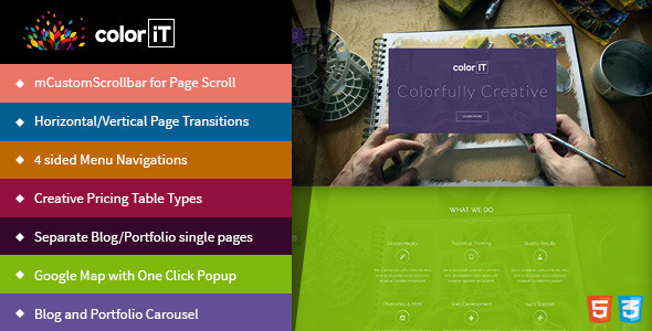 ThemeForest coloriT Colorful Single Page HTML Template 11384226