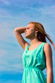 Young sensual smiling blonde posing in bright sunlight outdoors  - PhotoDune Item for Sale