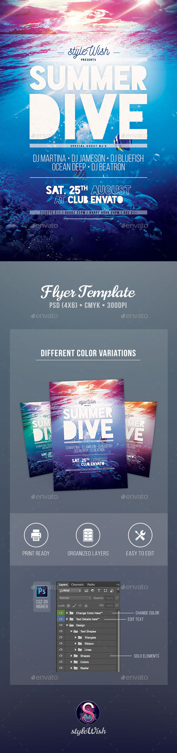 GraphicRiver Summer Dive Flyer 11385448