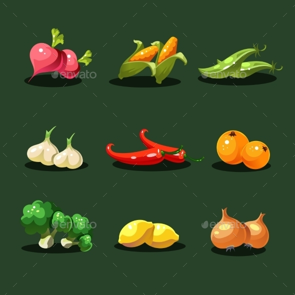 GraphicRiver Fruits And Vegetables Organic Food Icons Vector 11386456