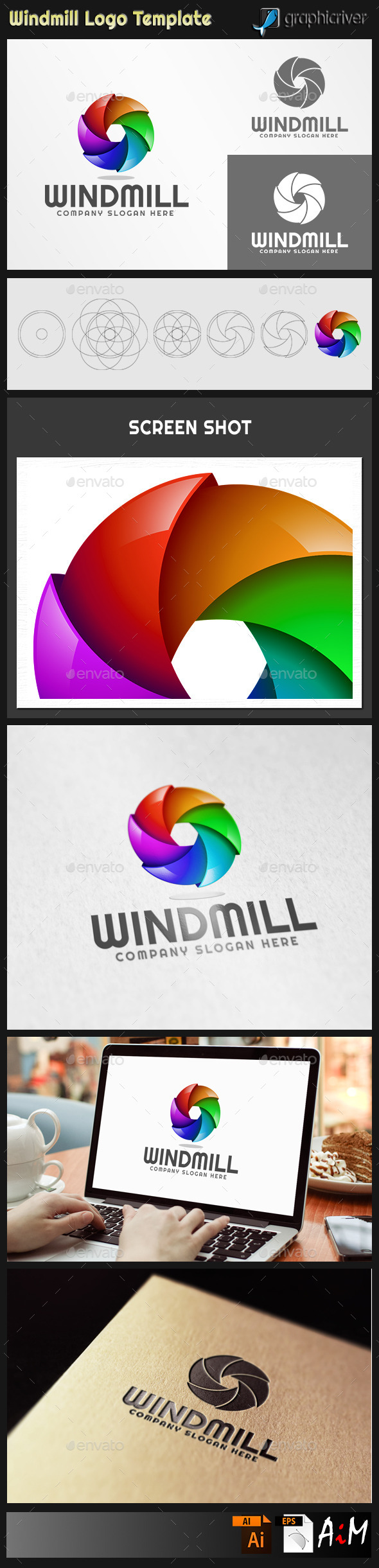 GraphicRiver Windmill Abstract 3D Logo 11386495