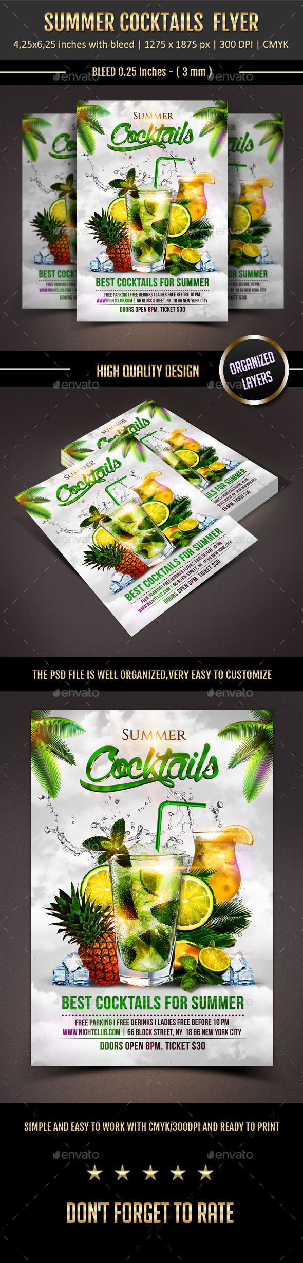 GraphicRiver Summer Cocktails Flyer 11386690