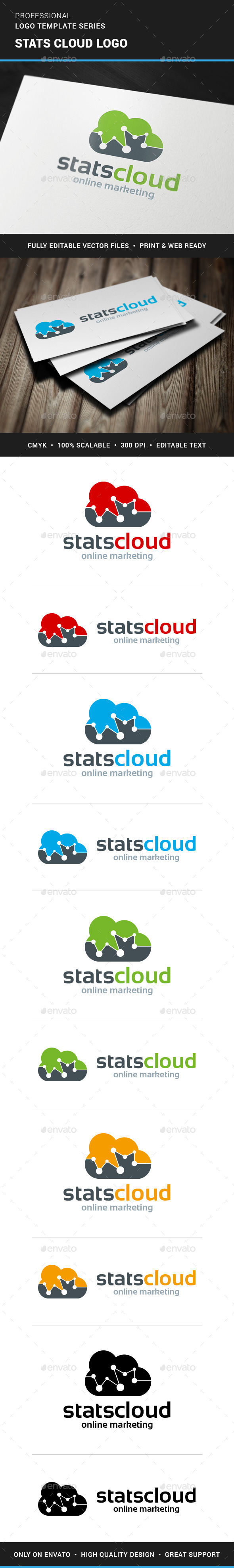GraphicRiver Stats Cloud Logo Template 11386861