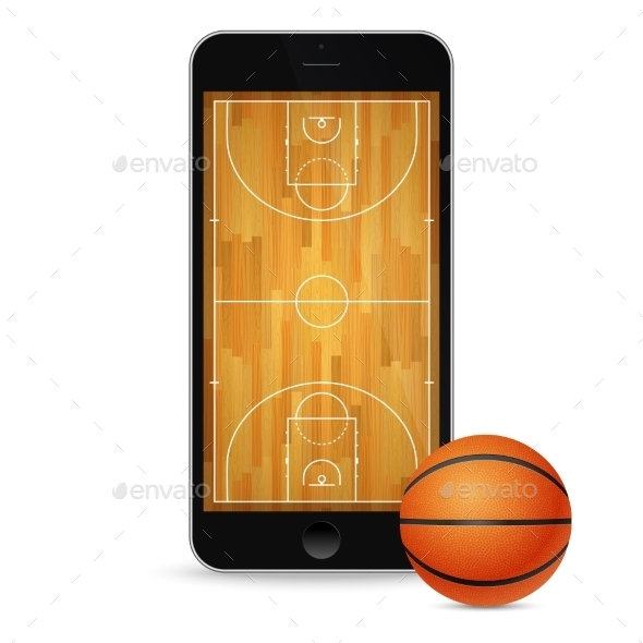 GraphicRiver Black Smartphone with Basketballl and Court 11387046