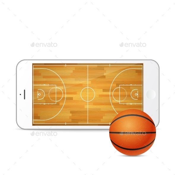 GraphicRiver Vector Smartphone With Basketball Ball And Court 11387070