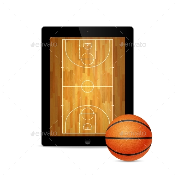GraphicRiver Tablet With Basketball Ball And Court 11387116
