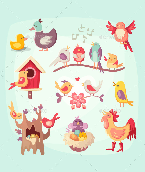 GraphicRiver Set of colorful spring birds 11387130
