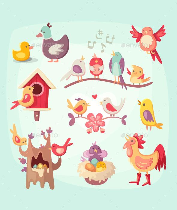 GraphicRiver Set of colorful spring birds 11387130
