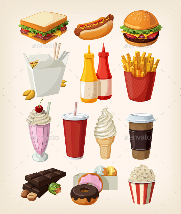 GraphicRiver Set of Colorful Cartoon Fast Food Icons 11387232