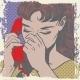 Woman Talking on the Phone Sad Pop Art Comic