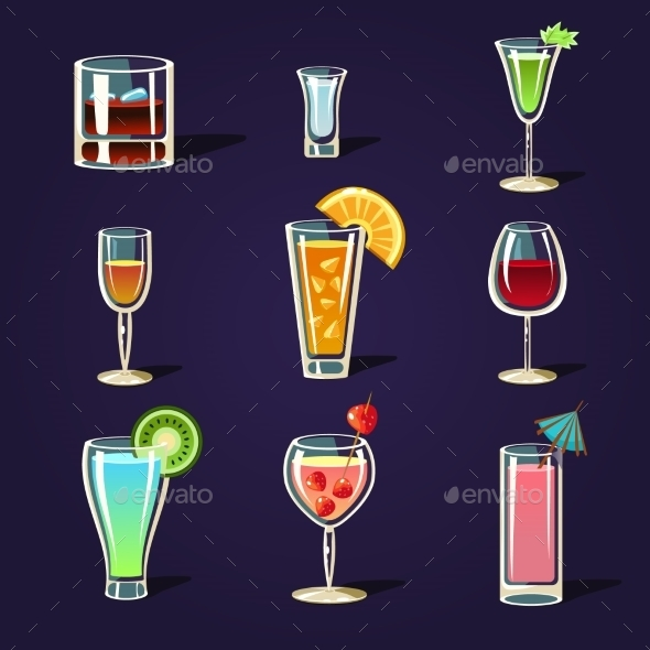 GraphicRiver Alcohol Coctails and Other Drinks 11388276