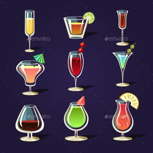 GraphicRiver Alcohol Coctails and Other Drinks 11388290