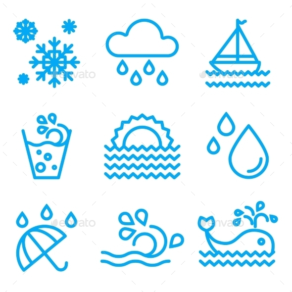Water And Drop Icons Set