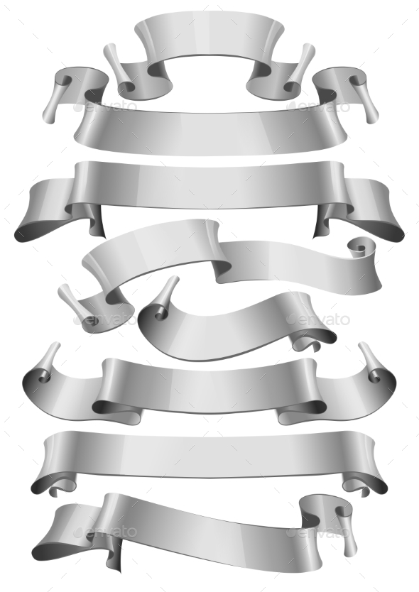 GraphicRiver Silver Glossy Ribbons 11388433