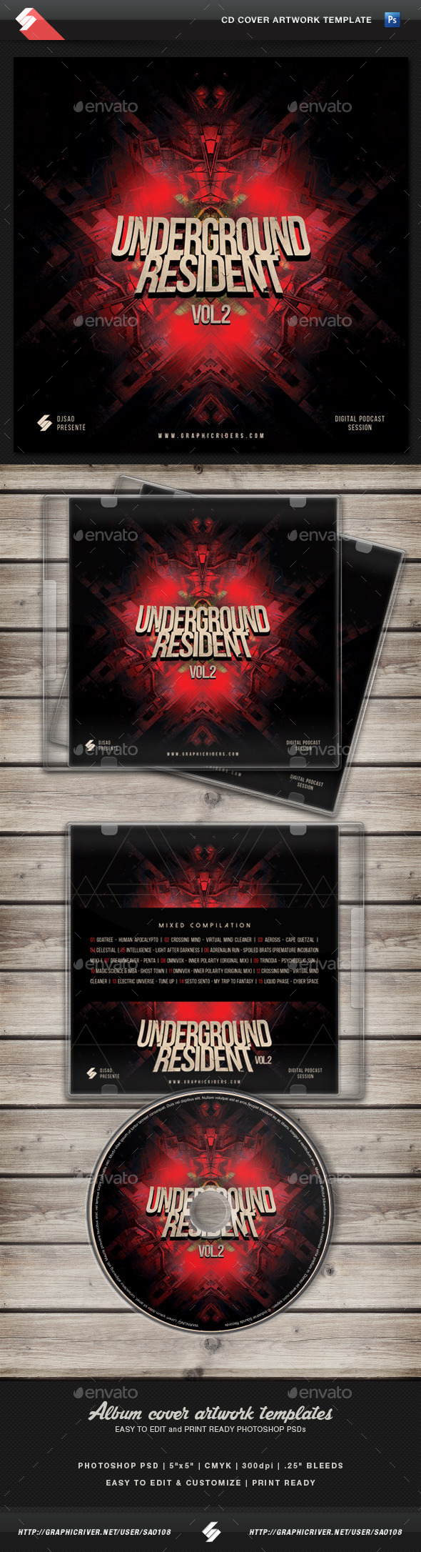 GraphicRiver Underground Resident Vol.2 CD Cover Template 11388673