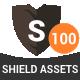 100 Shield Logo Assets