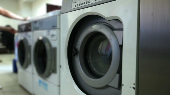Washing Machines In Laundry Room Close-up