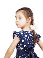 Pretty cute young girl wearing the dark blue dress looking back - PhotoDune Item for Sale