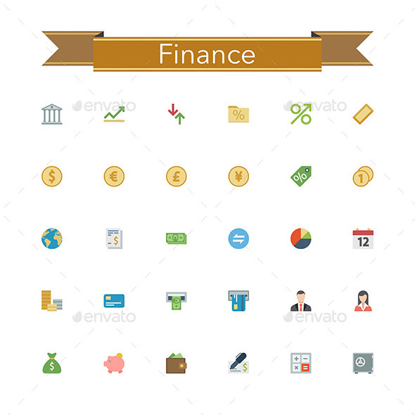 GraphicRiver Finance Flat Icons 11389777