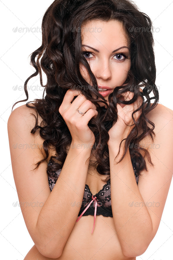 Portrait of sexy young brunette. Isolated - Stock Photo - Images