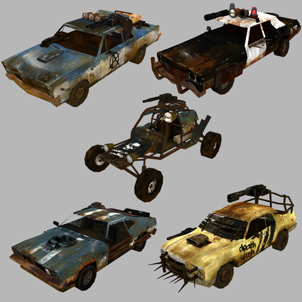3DOcean low poly postapo car set 01 11390450