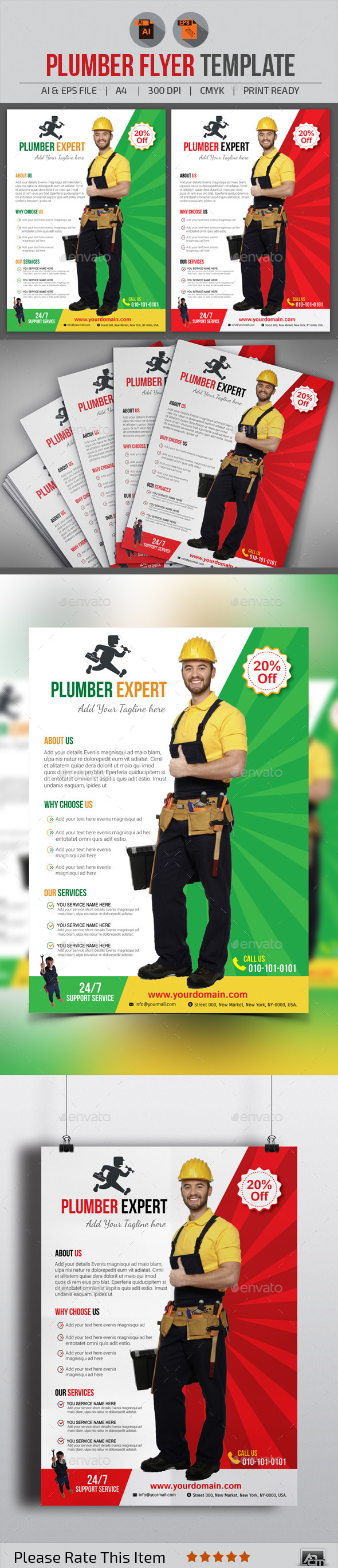 GraphicRiver Plumber Flyer Template 11324228